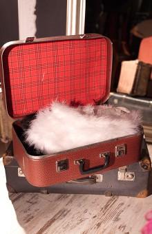 Красный ретро-чемодан в клетку